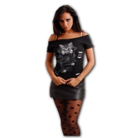 Spiral Direct - BRIGHT EYES - 2in1 White Ripped Top Black