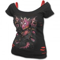 Spiral Direct - FIRESTARTER - 2in1 Red Ripped Top Black