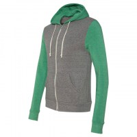 Alternative - Rocky Unisex Colorblocked Eco-Fleece Hooded Full-Zip - Eco Grey/ Eco True Green