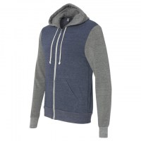 Alternative - Rocky Unisex Colorblocked Eco-Fleece Hooded Full-Zip - Eco True Navy/ Eco Grey