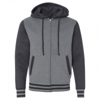 Independent Trading Co. - Unisex Varsity Full-Zip Hooded Sweatshirt - Gunmetal Heather/ Charcoal Heather