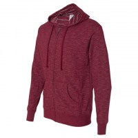 Independent Trading Co. - Baja Stripe French Terry Full-Zip Hood - Rojo Cardenal
