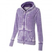 J. America - Women's Zen Fleece Full-Zip Hooded Sweatshirt - Very Berry