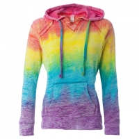 MV Sport - Women's Courtney Burnout V-Notch Sweatshirt - Rainbow Stripe