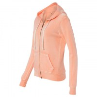 MV Sport - Women's Angel Fleece Sanded Full-Zip Hooded Sweatshirt - Deep Coral