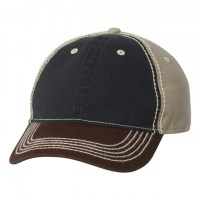 Outdoor Cap - Washed Chino Cap with Contrast Stitching - Navy/ Khaki/ Brown