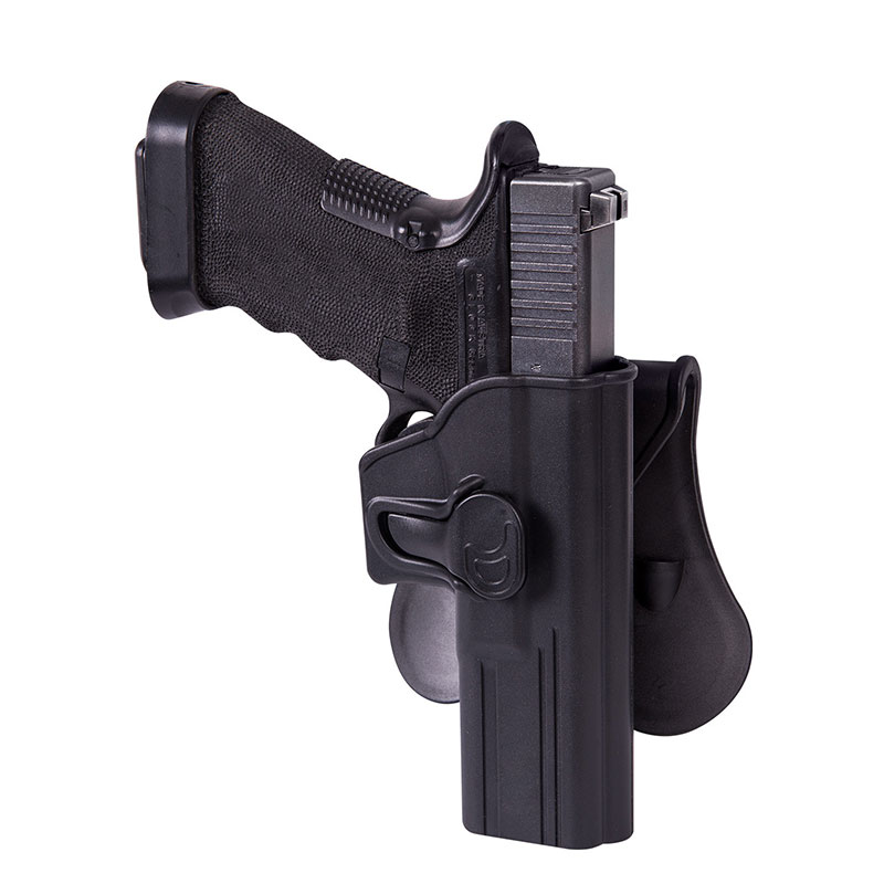 Helikon-Tex - Release Button Holster for Glock 17 with Paddle - Military Grade Polymer - Black