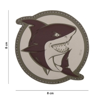 101 inc - Patch 3D PVC attacking shark brown #18001