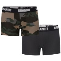 Brandit - Boxershort Logo - Dark Camo-Black