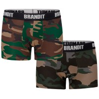 Brandit - Boxershort Logo - Woodland-Dark Camo