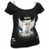 Spiral Direct - KITTEN ANGEL - 2in1 White Ripped Top Black