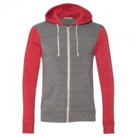 Alternative - Rocky Unisex Colorblocked Eco-Fleece Hooded Full-Zip - Eco Grey/ Eco True Red
