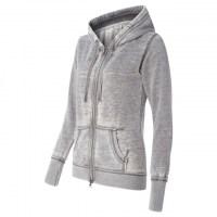 J. America - Women's Zen Fleece Full-Zip Hooded Sweatshirt - Cement