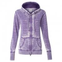 J. America - Women's Zen Fleece Full-Zip Hooded Sweatshirt - Very Berry