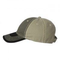 Outdoor Cap - Washed Chino Cap with Contrast Stitching - Olive/ Khaki/ Black